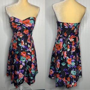 Express Floral Strapless Dress